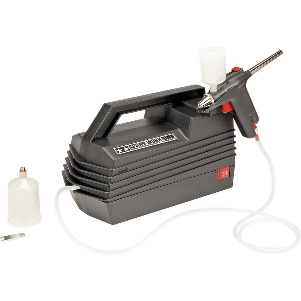 Uvajalni Airbrush komplet S kompresorjem Tamiya Spray Work Basic 74520 Enojno delovanje