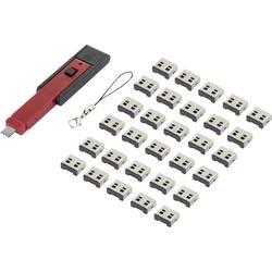 USB blokator portov vkl. 30x USB-nastavkov črne barve/rdeče Renkforce