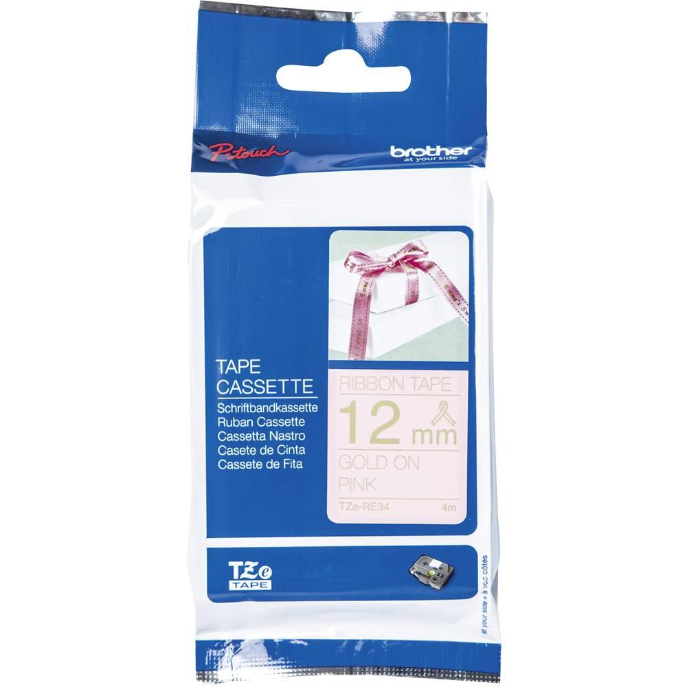 Neplastificiran tekstilni pisalni trak Brother TZe laminiran TZe-RE34 Barva traku: Roza Barva pisave:Zlata 12 mm 4 m