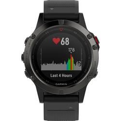 GPS ura z merilnikom srčnega utripa in vgrajenim senzorjem Garmin fenix 5 sive barve, zapestnica črne barve Bluetooth