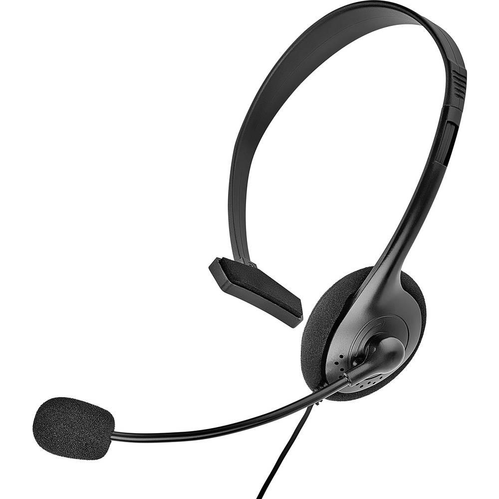 Telefonske slušalice s mikrofonom 2.5 mm klinken utikač s kabelom, mono Renkforce On Ear crne