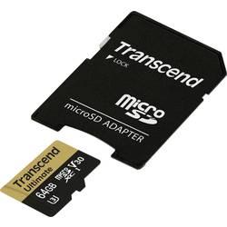 microSDXC-Kort Transcend Ultimate UHS-I U3M Class 10, Class 3 UHS-I , v30 Video Speed Class 64 GB inkl. SD-adapter