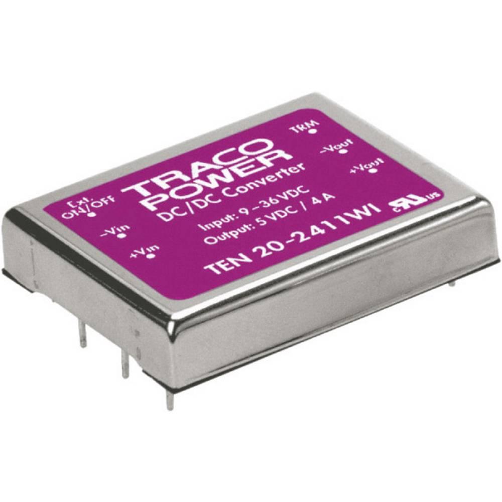 DC/DC pretvornik za tiskano vezje TracoPower TEN 20-4822WI 48 V/DC 12 V/DC, -12 V/DC 835 mA 20 W št. izhodov: 2 x