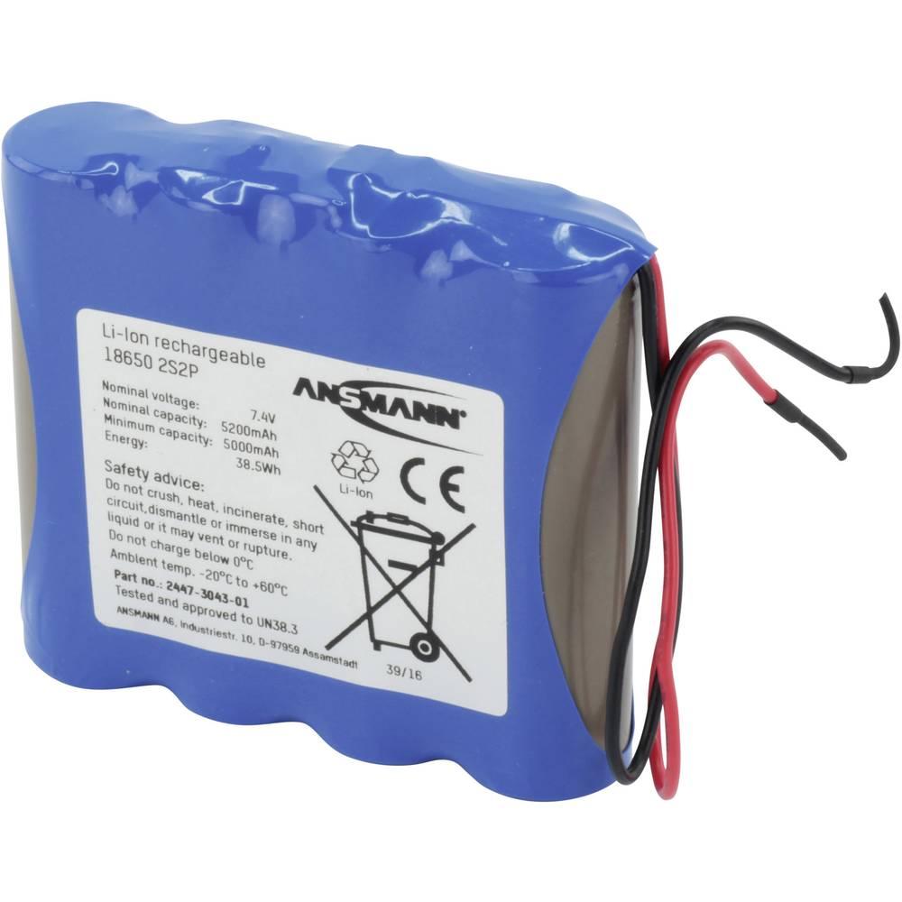 aku paket 4x18650 kabel li-ion Ansmann 2S2P 7.4 V 5200 mAh