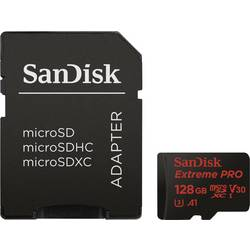 microSDXC-Kort SanDisk Extreme Pro Class 10, UHS-I, UHS-Class 3, v30 Video Speed Class 128 GB inkl. SD-adapter, A1-prestandastan
