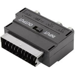 ednet cinch / scart / s-video adapter [1x moški konektor scart - 1x ženski cinch konektor, ženski konektor s-video] črna s stika