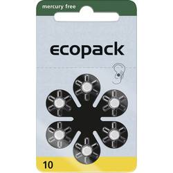 Gumbne celice ZA 10 Cink-zračni ecopack ECO10 95 mAh 1.4 V 6 KOS