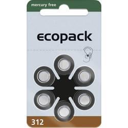 Gumbne celice ZA 312 Cink-zračni ecopack ECO312 161 mAh 1.4 V 6 KOS