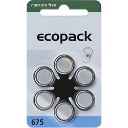 Gumbne celice ZA 675 Cink-zračni ecopack ECO675 620 mAh 1.4 V 6 KOS