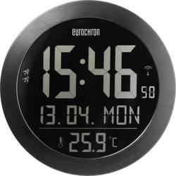 Radijski kontrolirani zidni sat Eurochron 205 mm x 26.5 mm crne boje negativan zaslon