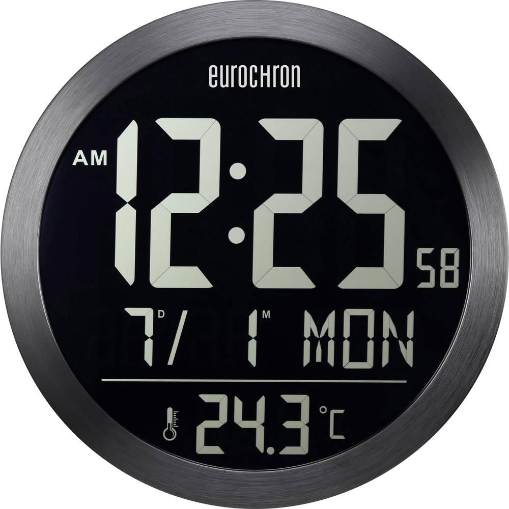 Radijsko vodena stenska ura Eurochron EFW 5000 394 mm x 41 mm črne barve negativni prikazovalnik