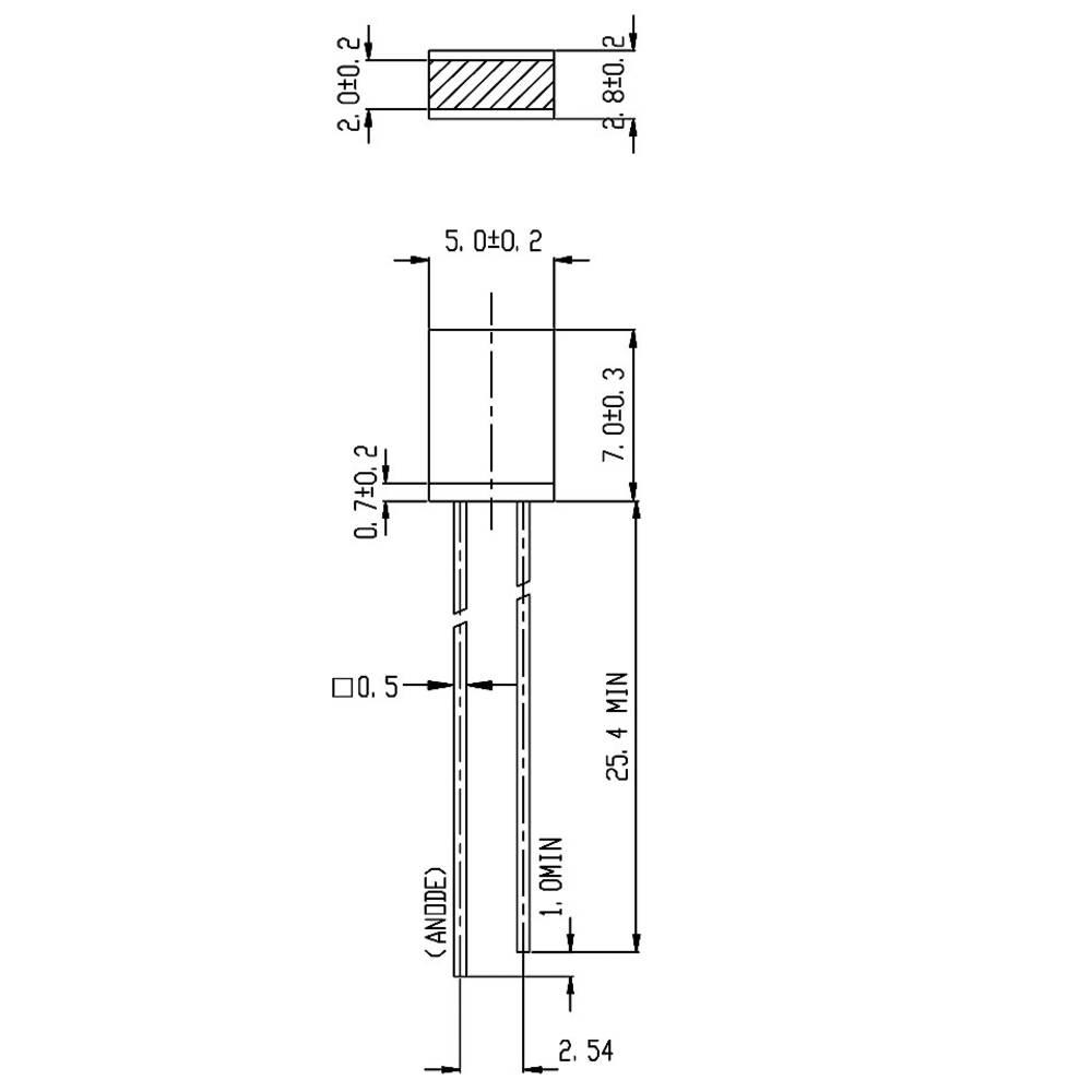 Ožičana LED dioda, žuta, pravokutna 2 x 5 mm 2.3 mcd 180 ° 10 mA 2 V Everlight Opto 514UYD