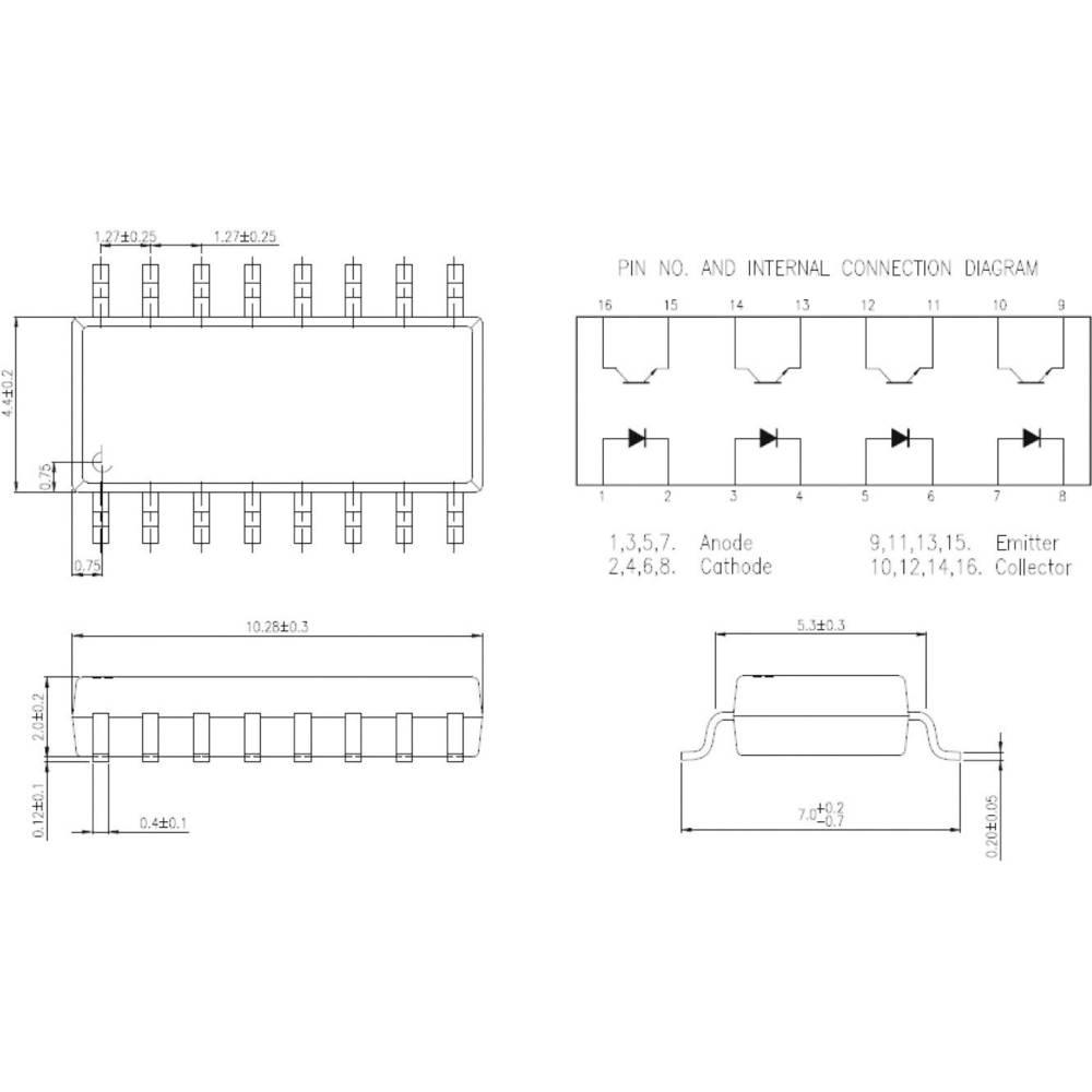 Isocom Components IS2801-4-Optospojnik, kućište: DIL 16, SMD, verzija: 4-kanalni
