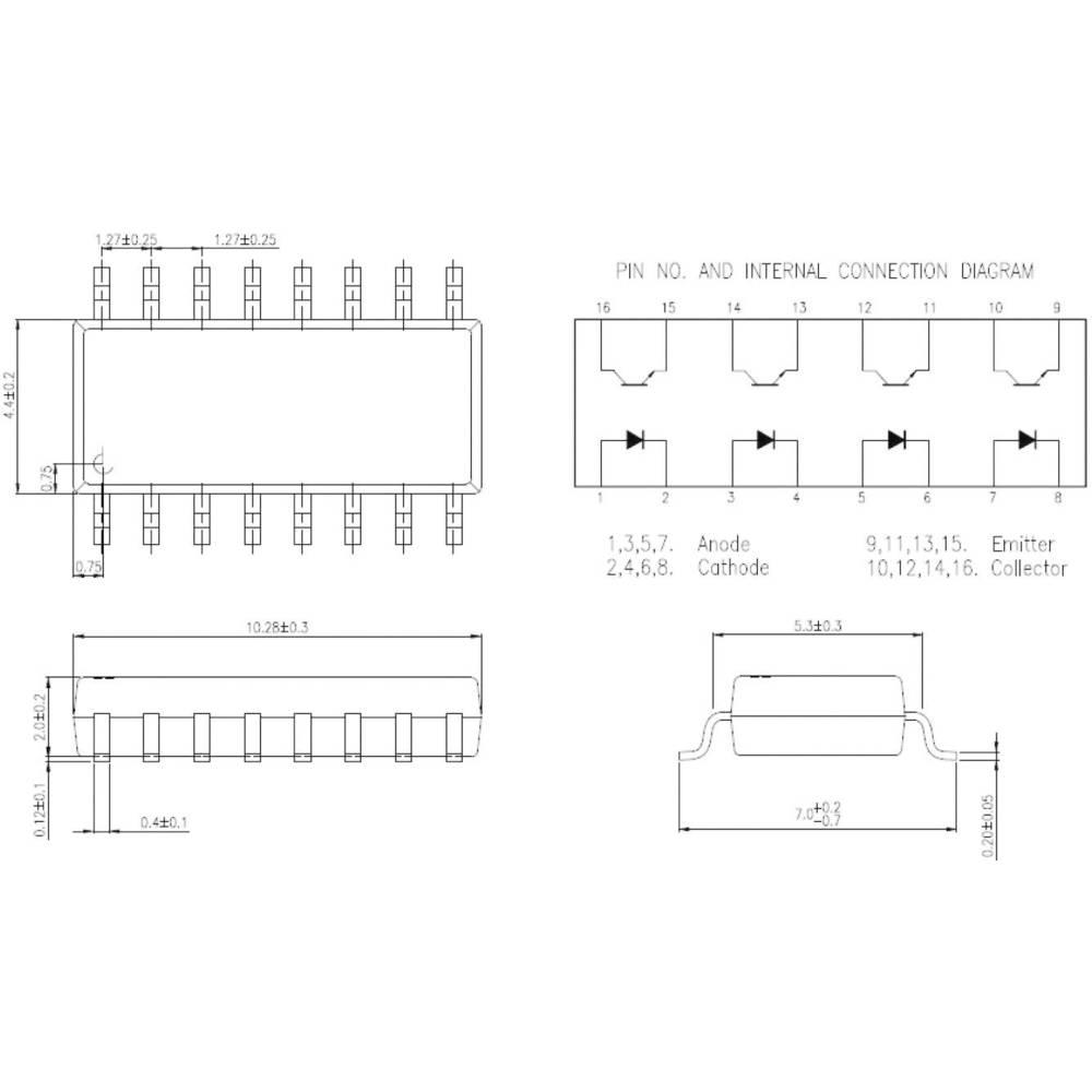 Isocom Components IS281-4-Optospojnik, kućište: DIL 16, SMD,verzija: 4-kanalni