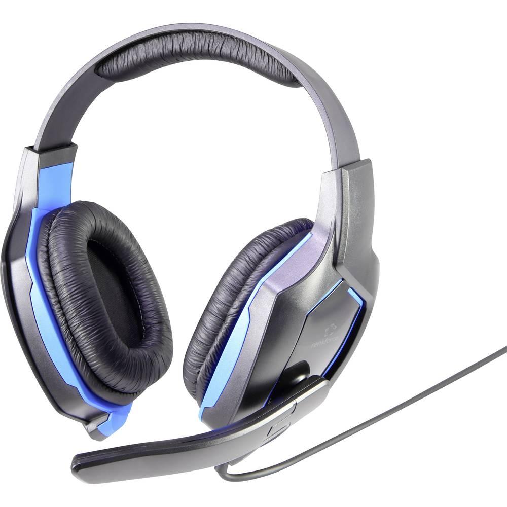 Gaming naglavne slušalice s mikrofonom 3.5 mm klinken utikač, s kabelom Renkforce RF-GHD-100 On Ear crne-plave boje