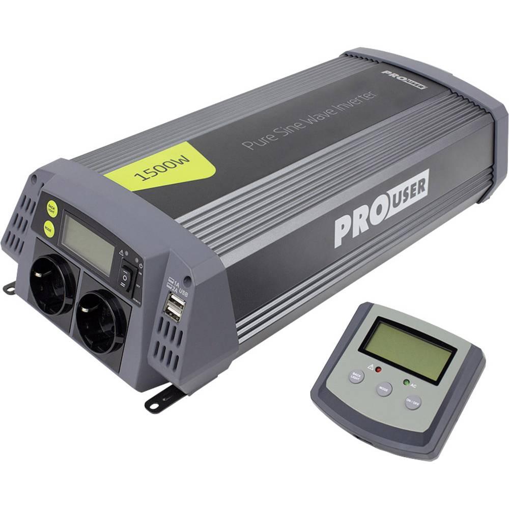 Inverter ProUser Sinus PSI1500 1500 W 12 V/DC Kan fjernbetjenes Skrueklemmer