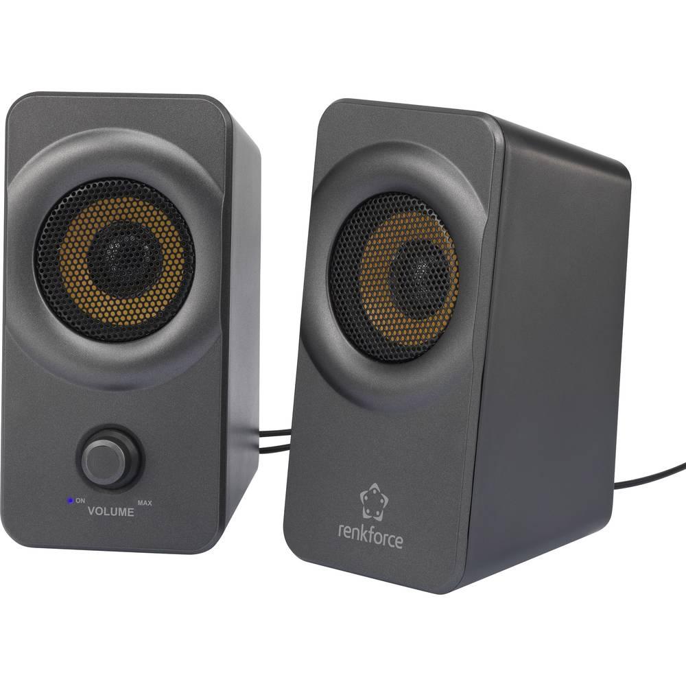 2.0 PC-zvočnik-kabelski Renkforce RF-PCL-MESH2.0 5 W črne barve-sive barve