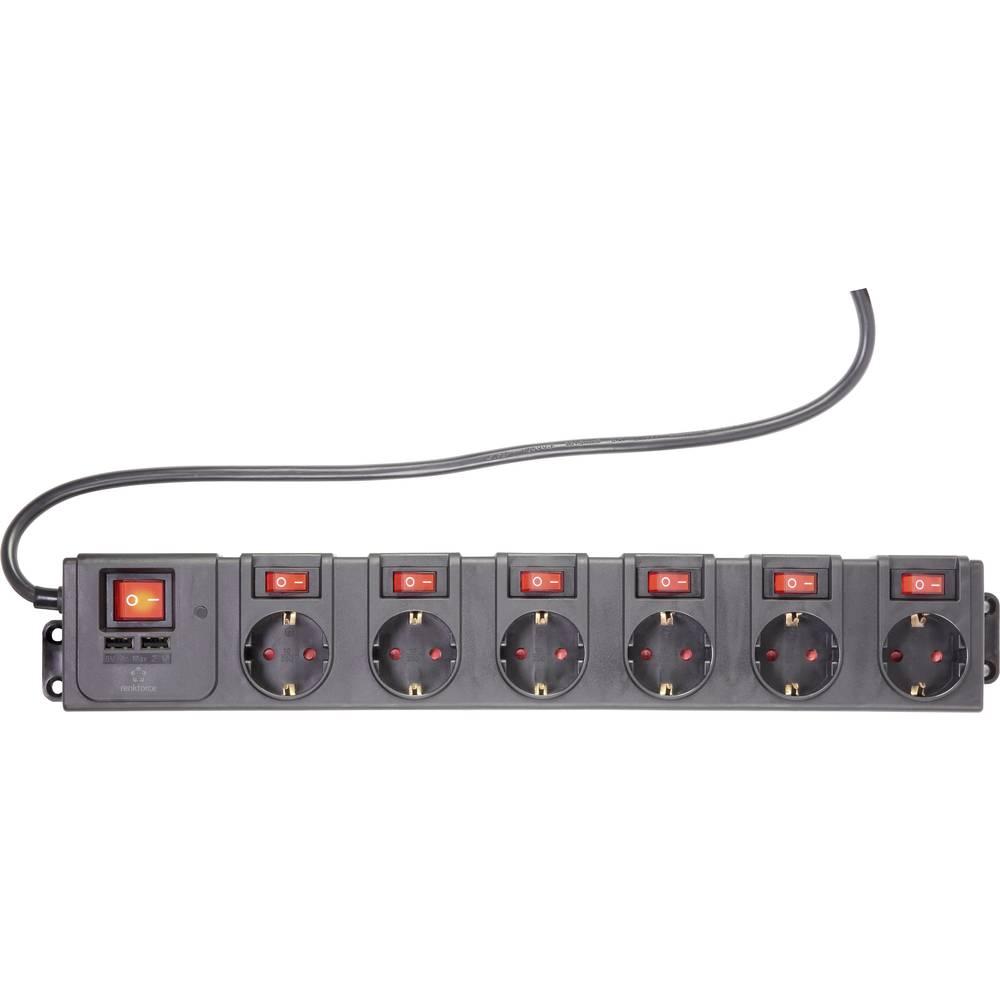 Renkforce 615C-CMB-USB Razdjelna letva s prekidačem Crna Utičnica