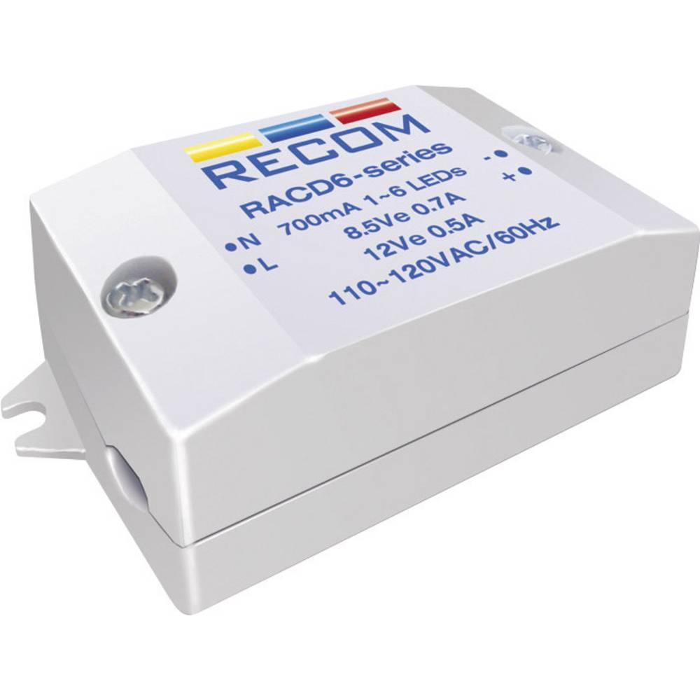 LED napajalnik s konstantnim tokom 6 W 700 mA 8.4 V/DC Recom Lighting RACD06-700 delovna napetost maks.: 264 V/AC