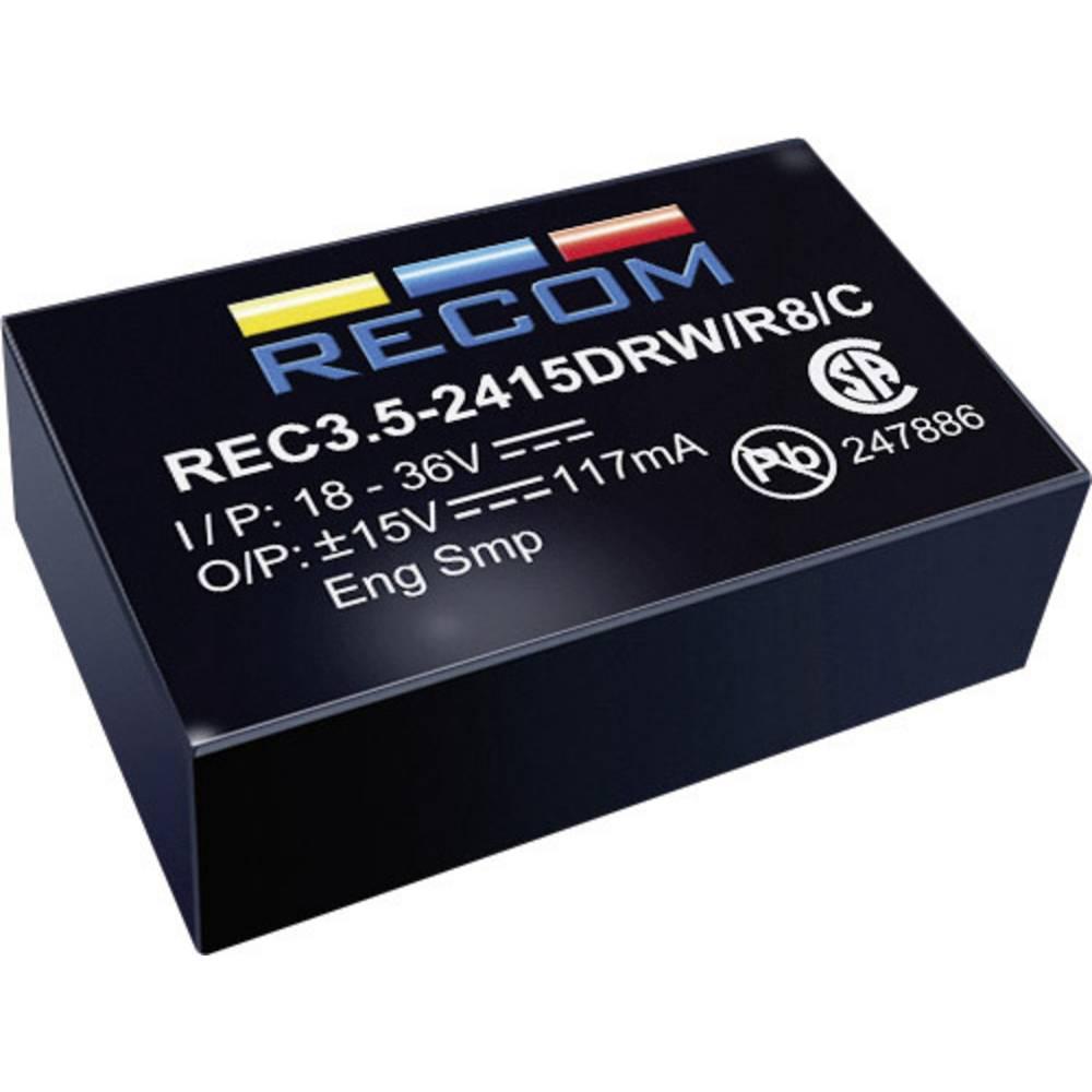 DC/DC pretvornik za tiskano vezje RECOM REC3.5-0512SRW/R10/A 5 V/DC 12 V/DC 290 mA 3 W št. izhodov: 1 x