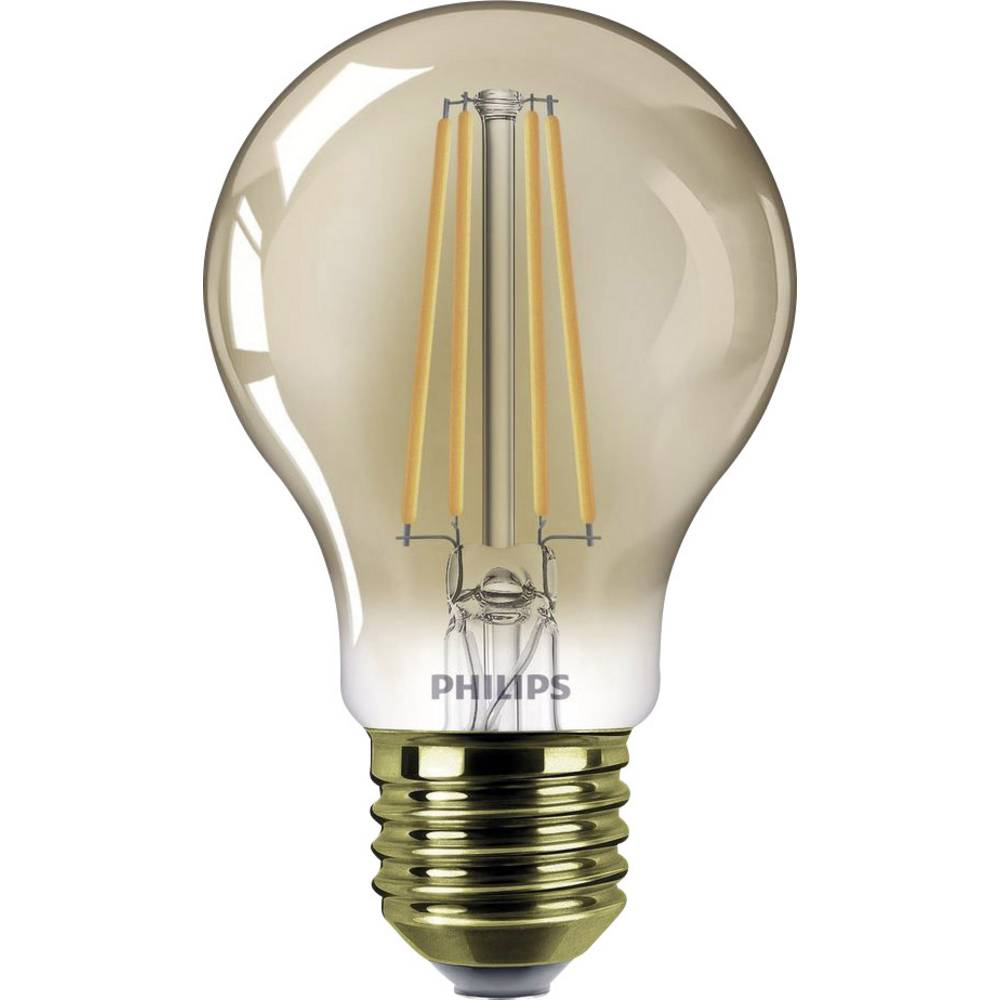 LED Glödlampsform E27 Philips Lighting Filament, dimbar 7.5 W 610 lm A+ Guld 1 st