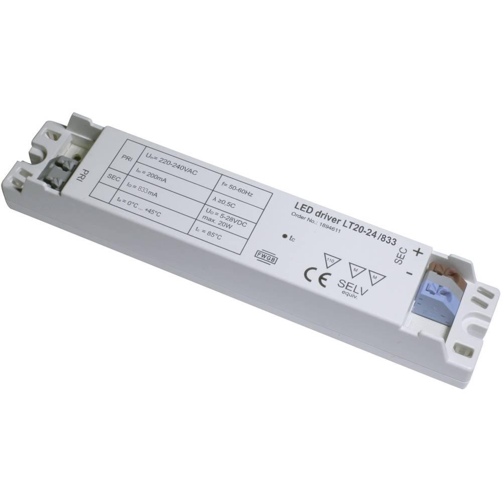 LED-napajalnik LT20-24/833, izh. tok: (15-23,5 V/DC) 875 mA,obr. n.: (+10 %) 220-240 V/AC