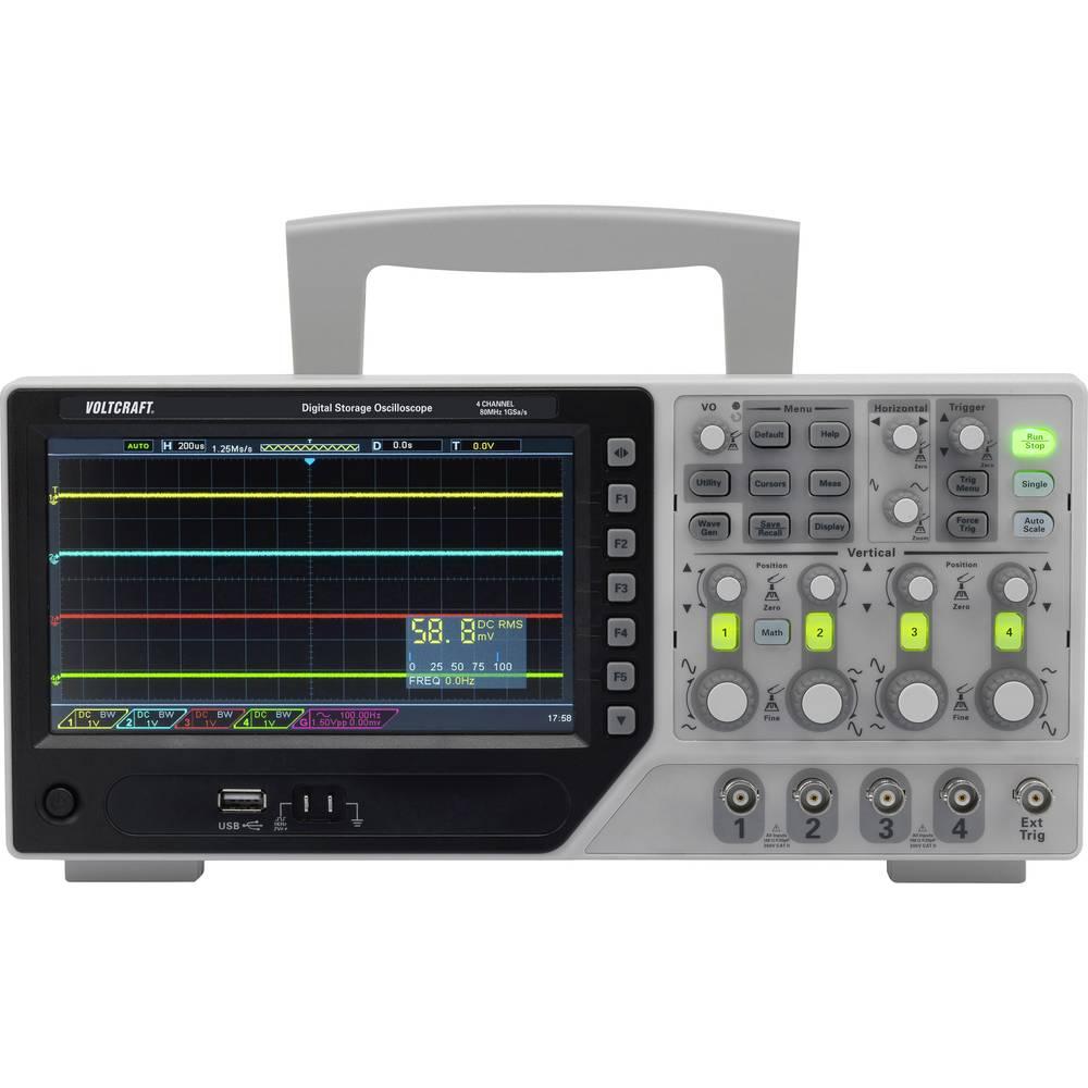 VOLTCRAFT DSO-1084E digitalni osciloskop 80 MHz 4-kanali 1 GSa/s 64 kpts 8 Bit digitalni pomnilnik (DSO)