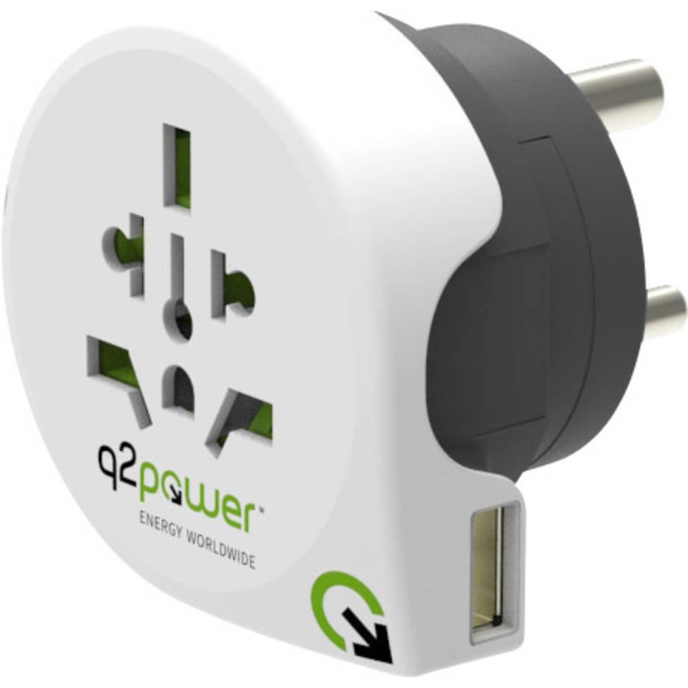 Q2 Power 1.100250 Potovalni adapter Welt nach Indien mit USB