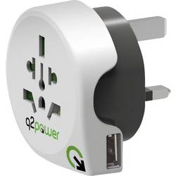 Q2 Power 1.100130 potovalni adapter World to Great Britain with USB