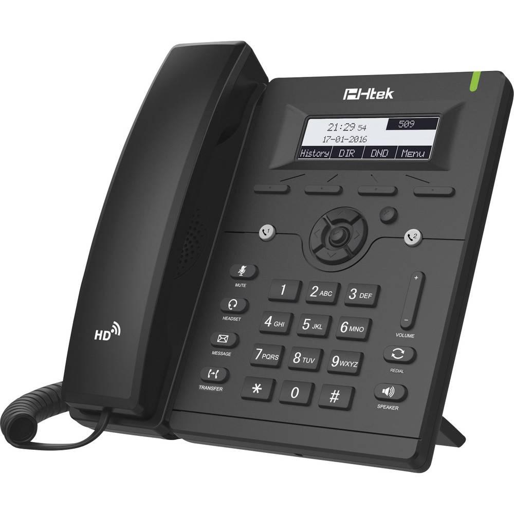 Telefon s kabelom, VoIP TipTel Htek UC902 Handsfree, Priključak za slušalice, PoE Osvjetljeni zaslon Crna