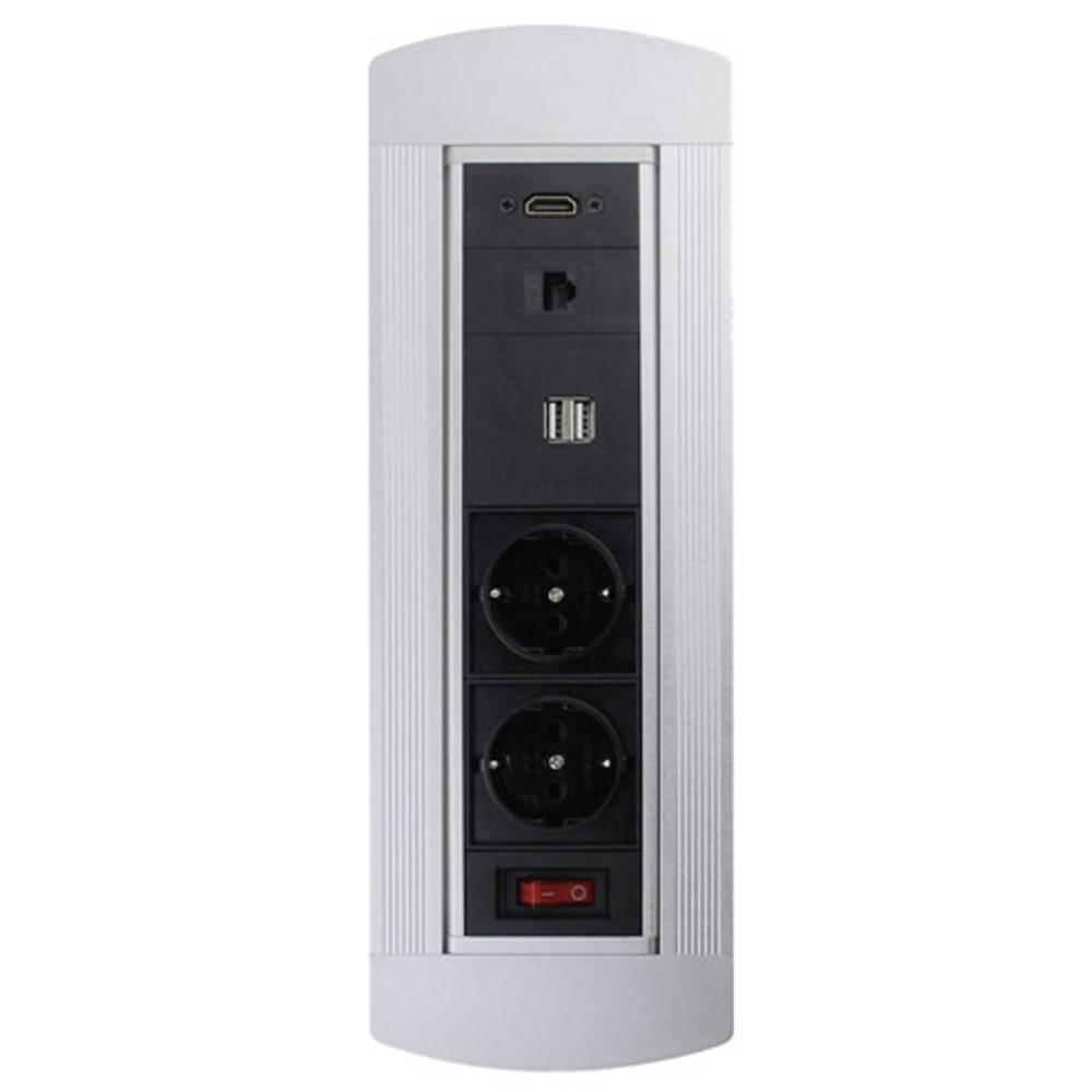 LEDmaxx 105950 vgradna vtičnica s HDMI, s stikalom, z USB, s cat6 vtičnico ip20 črna, krom