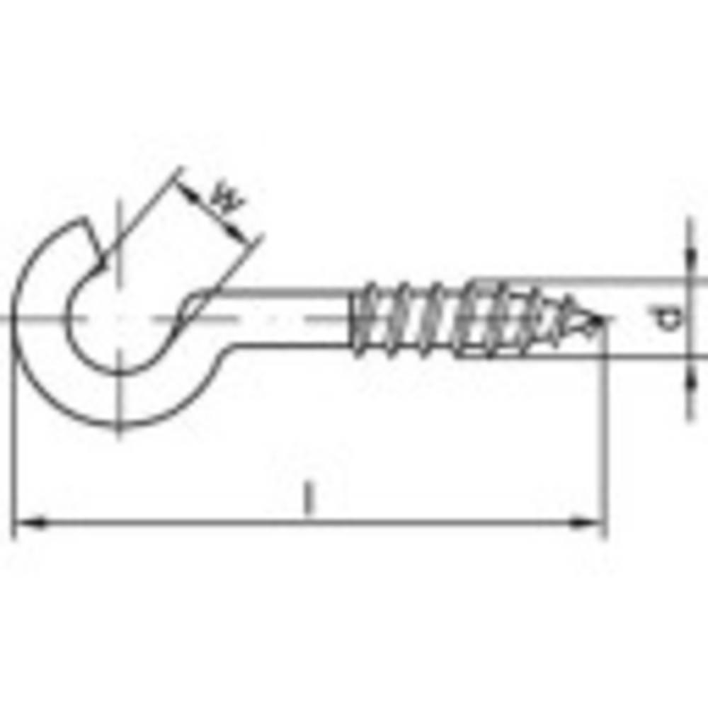 Böjda skruvkrokar TOOLCRAFT 159612 70 mm Stål, galvaniskt förzinkad 100 st