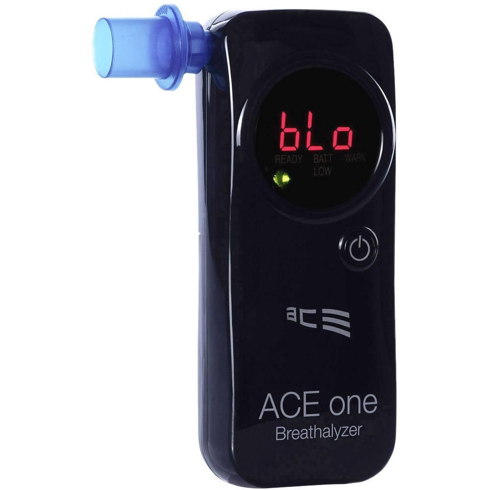 ACE one alkotester črne barve 4.00 do 0.00 ‰ vklj. zaslon, odštevalnik časa, prikaz v različnih enotah