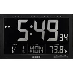 Radijski kontrolirani zidni sat Eurochron EFWU Jumbo 101 370 mm x 230 mm x 30 mm crne boje negativan zaslon