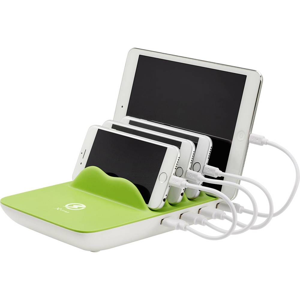 USB-opladerstation Xlayer Family Charger Plus 212731 Stikdåse Udgangsstrøm max. 10600 mA 5 x USB (value.1390762), Induktionslade