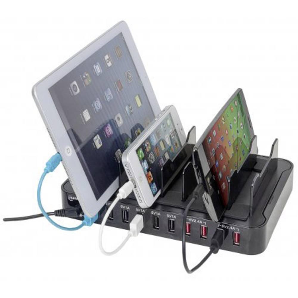 USB-opladerstation Manhattan 10-Port Charger 180009 Stikdåse Udgangsstrøm max. 17000 mA 10 x USB (value.1390762)