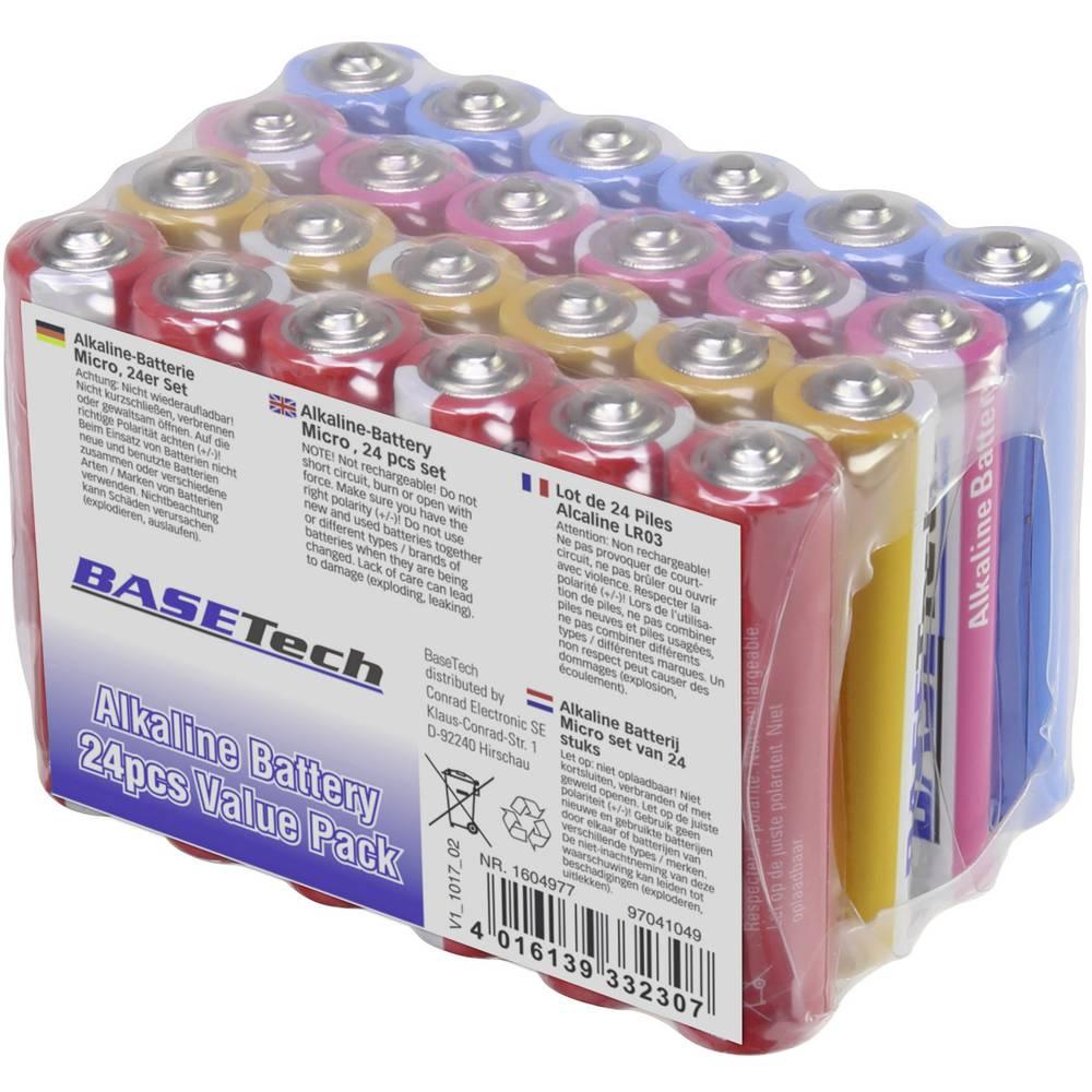Mikro (AAA) baterija alkalno-magnanova Basetech 1170 mAh 1.5 V 24 kosov