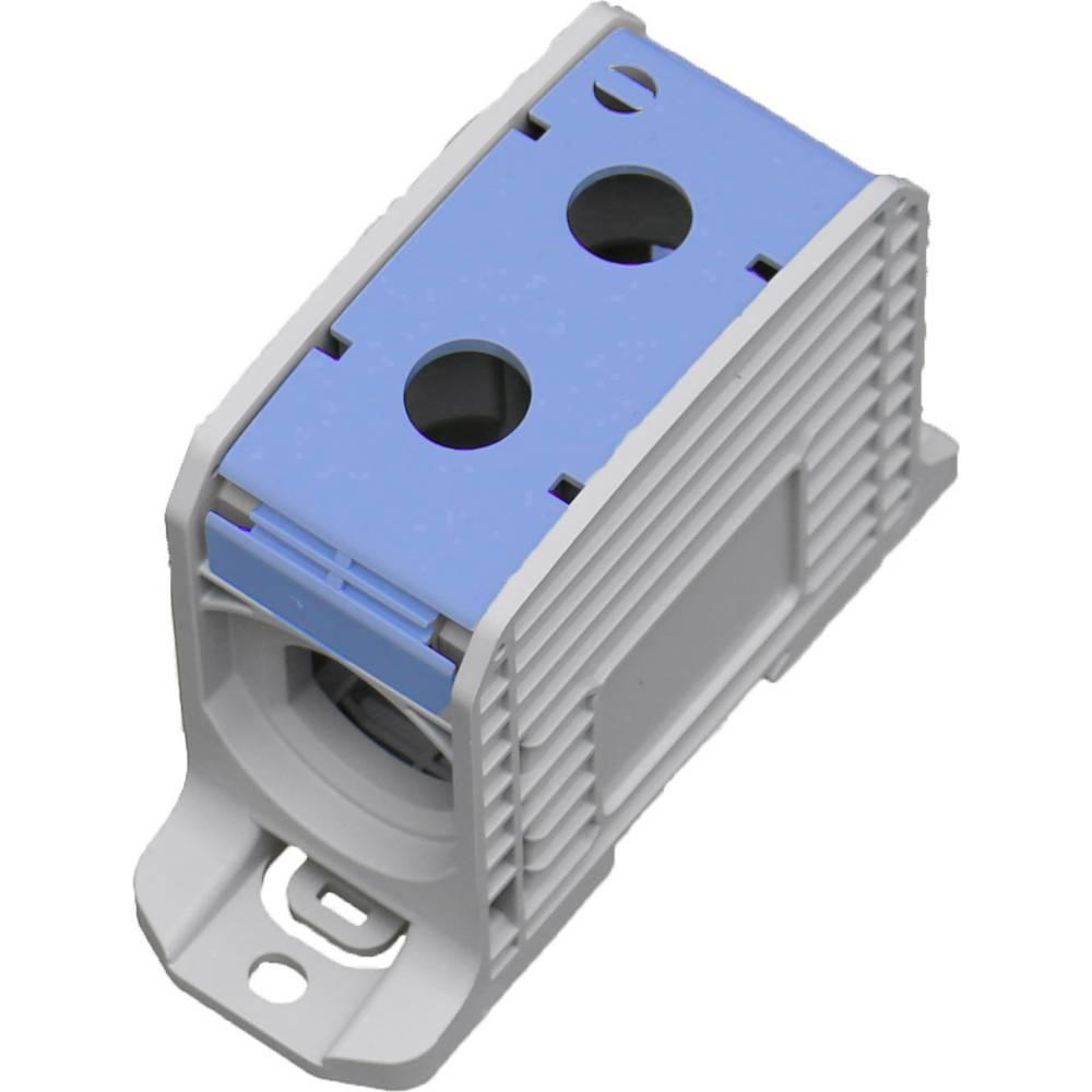 HoraeTec 106316 vrstna sponka pa sivo-bela (ral 7035), modra 1-polni 420 A, 340 A 600 V Vrste vodnikov = N