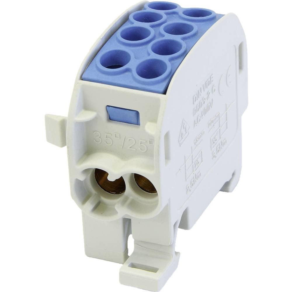HoraeTec 106291 odcepna sponka za glavni kabel medenina, pa sivo-bela (ral 7035), svetlo modra 1-polni 125 A 690 V Vrste vodnik