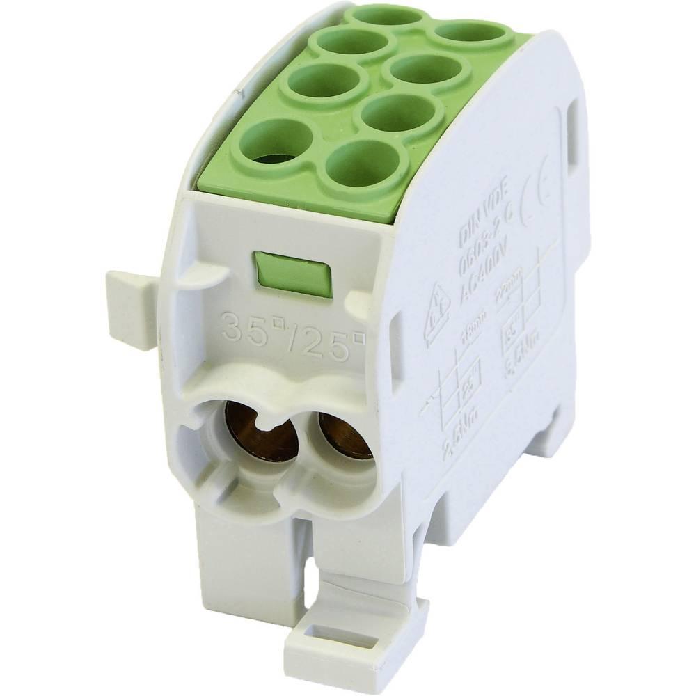 HoraeTec 106292 odcepna sponka za glavni kabel medenina, pa sivo-bela (ral 7035), zelena, rumena 1-polni 125 A 690 V Vrste vodn