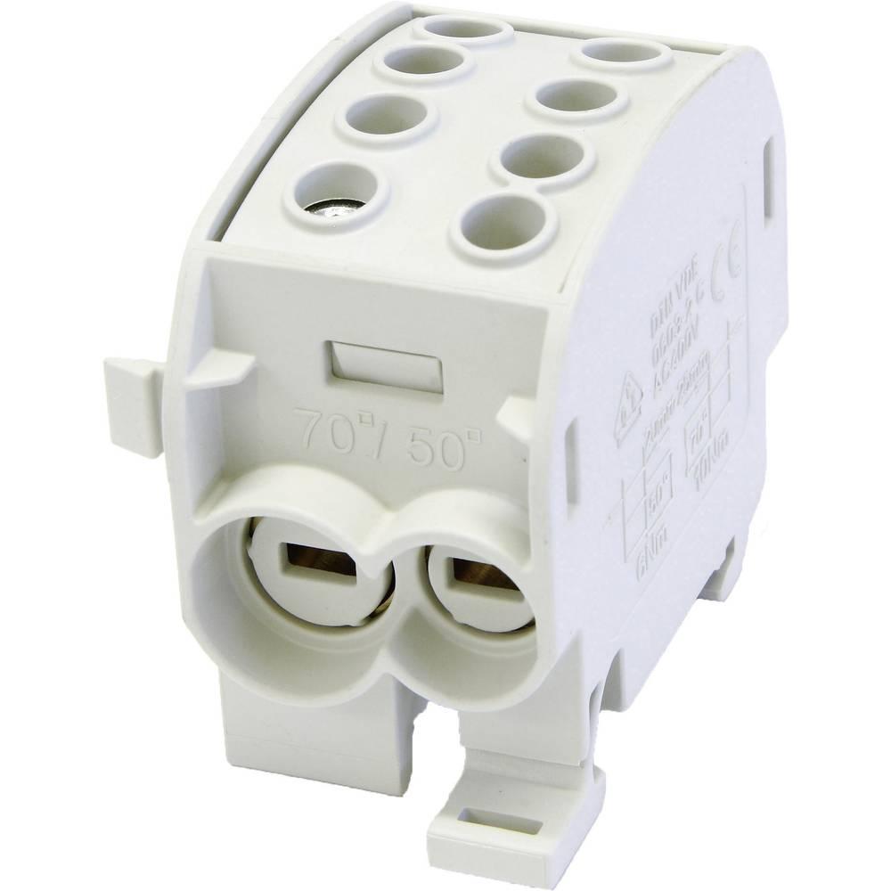 HoraeTec 106295 odcepna sponka za glavni kabel medenina, pa sivo-bela (ral 7035) 1-polni 160 A 690 V Vrste vodnikov = L