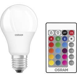 LED Glödlampsform E27 OSRAM inkl. fjärrkontroll, färgändring, dimbar 9 W 806 lm A+ RGBW 1 st