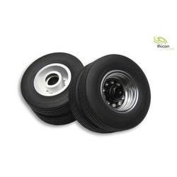 Thicon Models 1:14 Priklopnik za tovornjak Kompletna kolesa Polna guma, Aluminij 30 mm On-Road Euro-Optik Srebrna 2 KOS