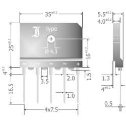 Mostični usmernik TRU Components TC-DBI25-08A SIL-5 800 V 25 A trifazni