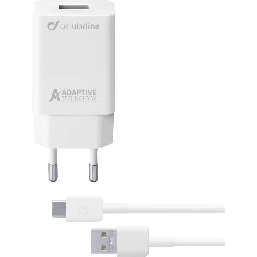Cellularline ACHSMKIT15WTYCW 39229 USB napajalnik Vtičnica Izhodni tok maks. 2400 mA 1 x Ženski konektor USB 2.0 tipa A, Moški k