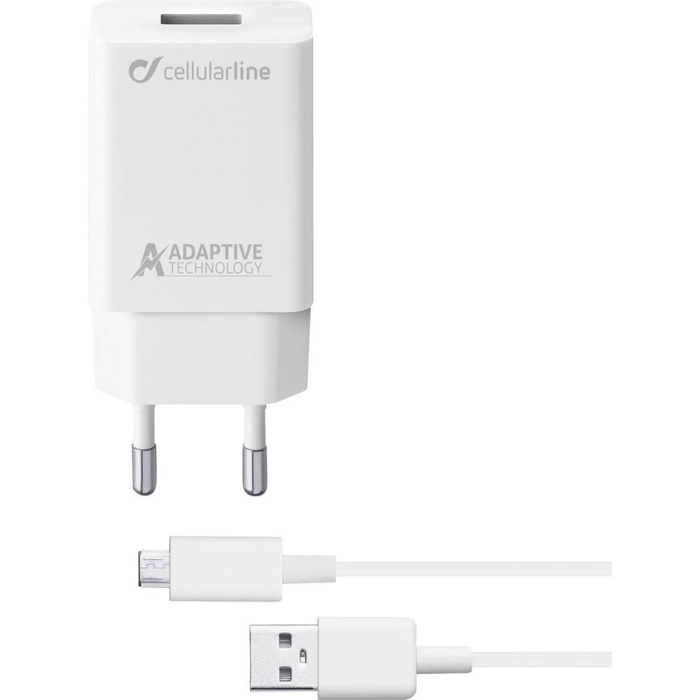 Cellularline ACHSMKIT15WMUSBW 39223 USB napajalnik Vtičnica Izhodni tok maks. 2400 mA 1 x Ženski konektor USB 2.0 tipa A, Moški