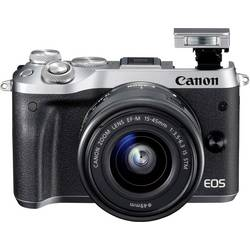Systemkamera Canon EOS M6 inkl. EF-M 15-45 mm IS STM 24.2 MPix Silver WiFi, Bluetooth, Full HD Video