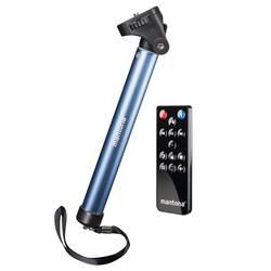 Mantona palica za selfije 1/4 colski Delovna višina=25 - 91 cm modra, črna za pametne telefone in gopro, vklj. torba