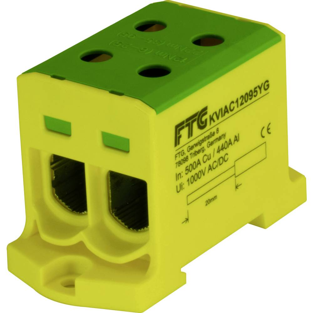 FTG Friedrich Göhringer KVIAC12095YG povezovalna sponka rumena, zelena 1-polni 95 mm² 500 A, 440 A Vrste vodnikov = PE