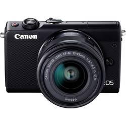 Systemkamera Canon EOS M100 15-45 & 55-200 MM Kit inkl. EF-M 15-45 mm + EF-M 55-200 mm 24.2 MPix Vit WiFi, Bluetooth, Hopfällbar